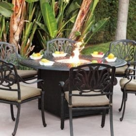 Darlee Elisabeth 6 Person Patio Fire Pit Dining Set   Antique Bronze