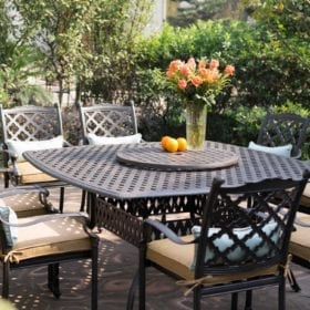 darlee camino real 9 piece cast aluminum patio dining set with lazy susan
