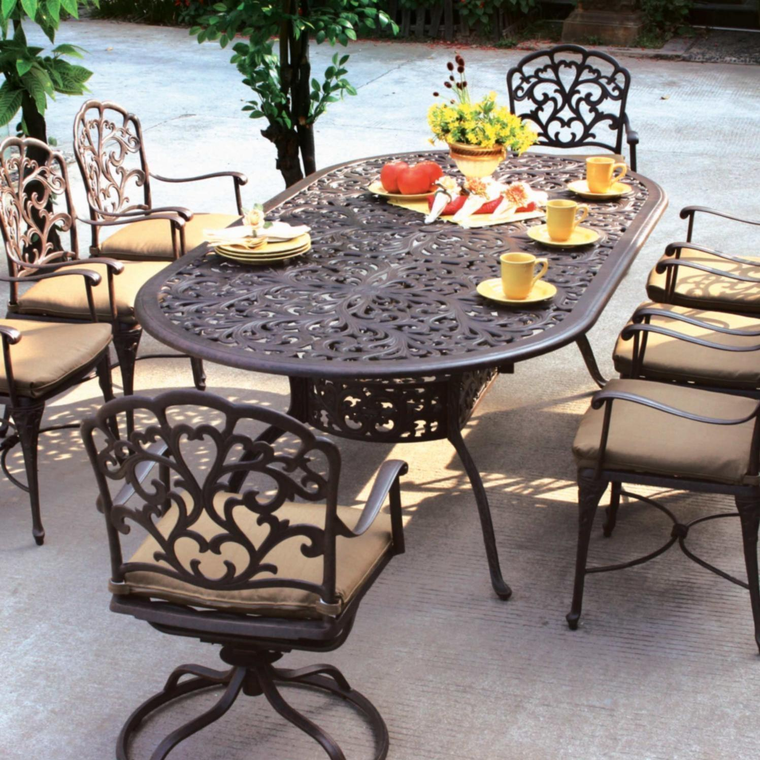 Darlee Catalina 8 Person Patio Dining Set   Antique Bronze