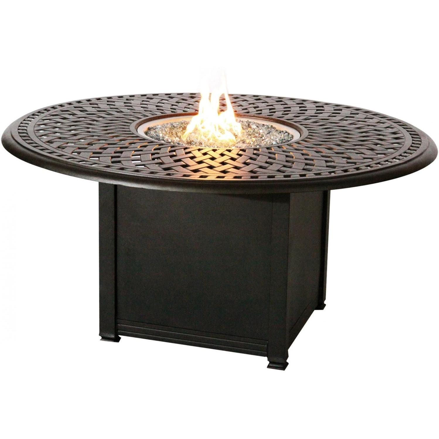 Darlee Round Patio Conversation Table With Propane Fire Pit   Antique Bronze
