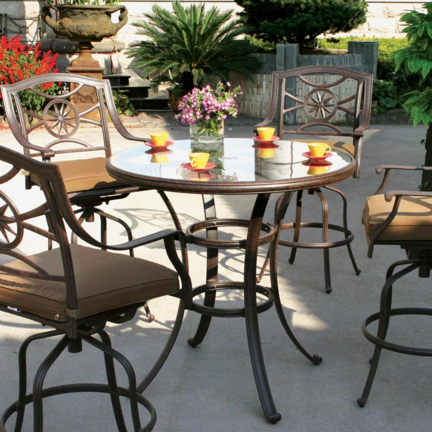 Darlee Ten Star 4 Person Patio Bar Set   Antique Bronze