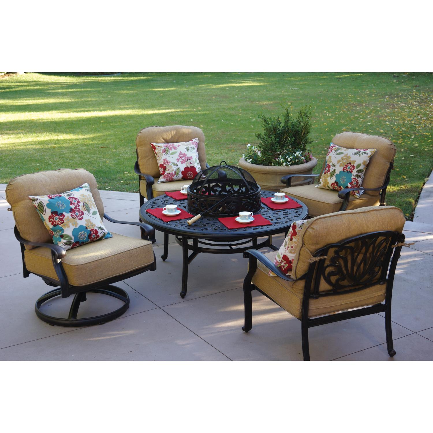 Darlee Elisabeth 5 Piece Cast Aluminum Patio ...