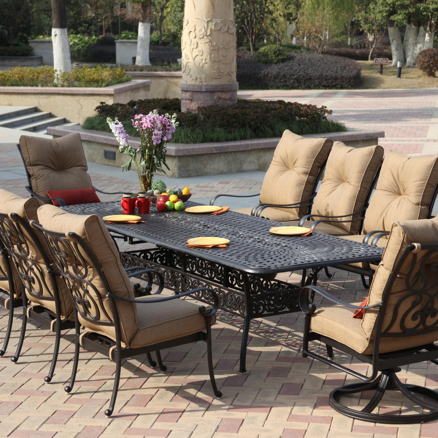 Darlee Santa Anita 10 Person Patio Dining Set   Antique Bronze