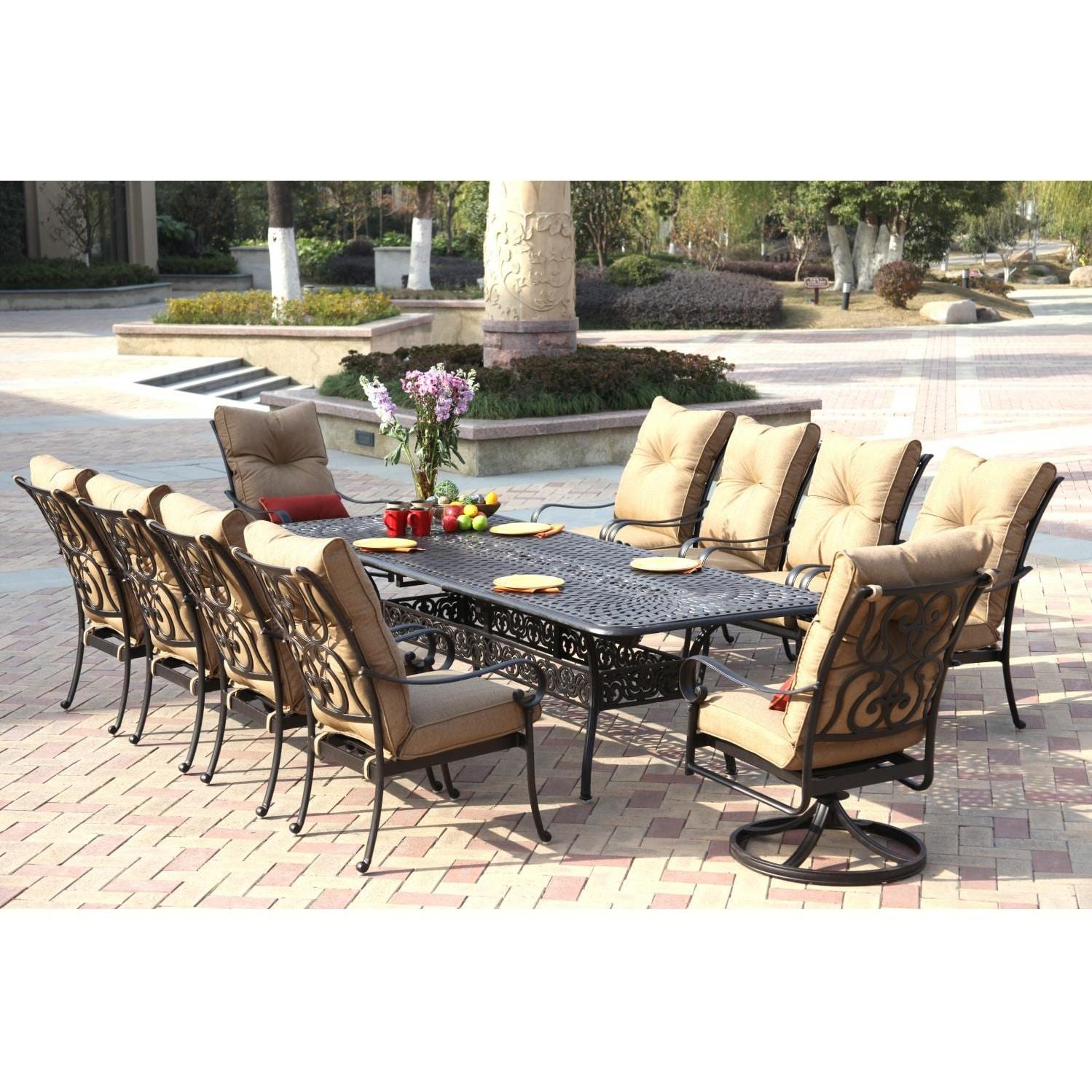 Darlee Santa Anita 11 Piece Cast Aluminum Patio Dining Set With Extension  Table
