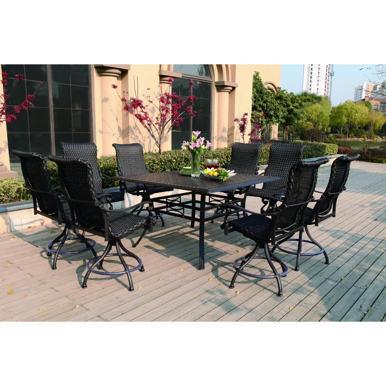 Darlee Victoria 9 Piece Resin Wicker Counter Height Patio Dining Set ...