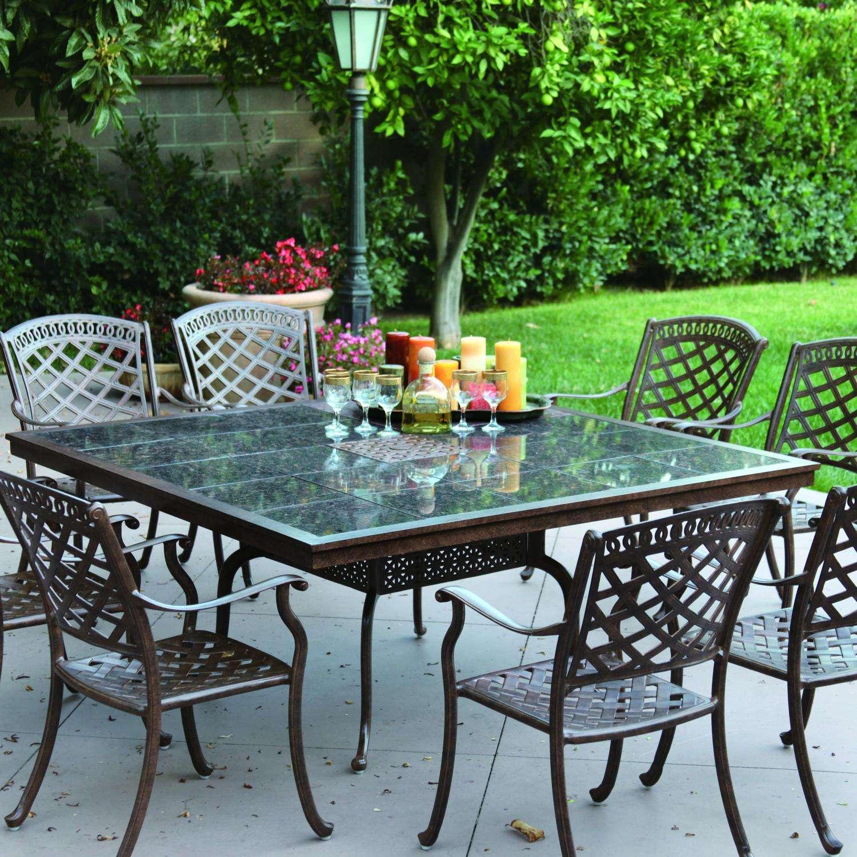 Darlee Sedona 8 Person Patio Dining Set   Mocha / Brown Granite Tile
