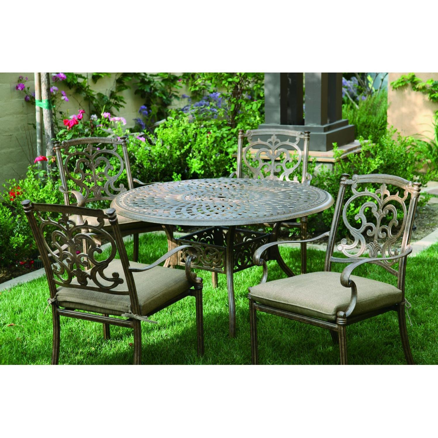Darlee santa barbara 5 piece cast aluminum patio dining set for Outdoor dining sets for 12