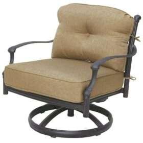 Delightful Darlee Camino Real Cast Aluminum Patio Swivel Rocker Club Chair
