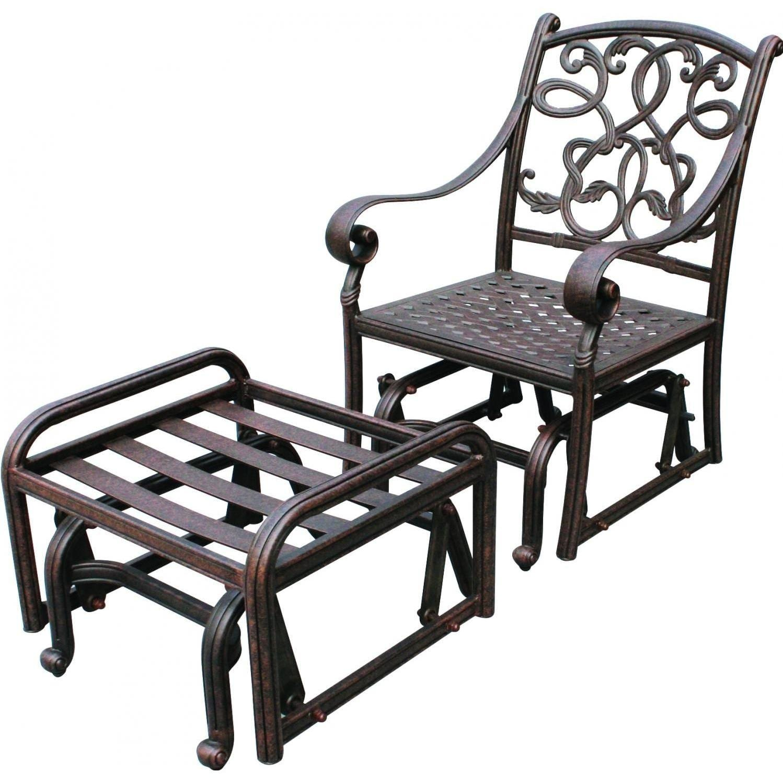 Darlee Santa Monica Patio Glider Lounge Chair With Ottoman   Antique Bronze